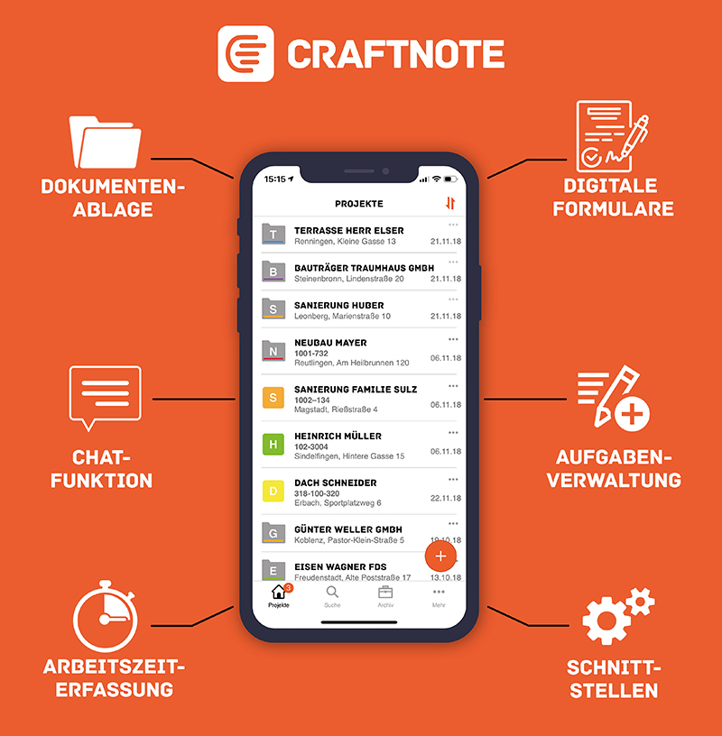 Display der Baustellen-App Craftnote © Craftnote