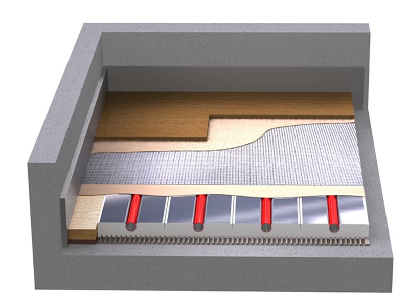 Der moderne Aufbau einer Fußbodenheizung bei verklebtem Mehrschichtparkett © vdp/ProLine Energy GmbH