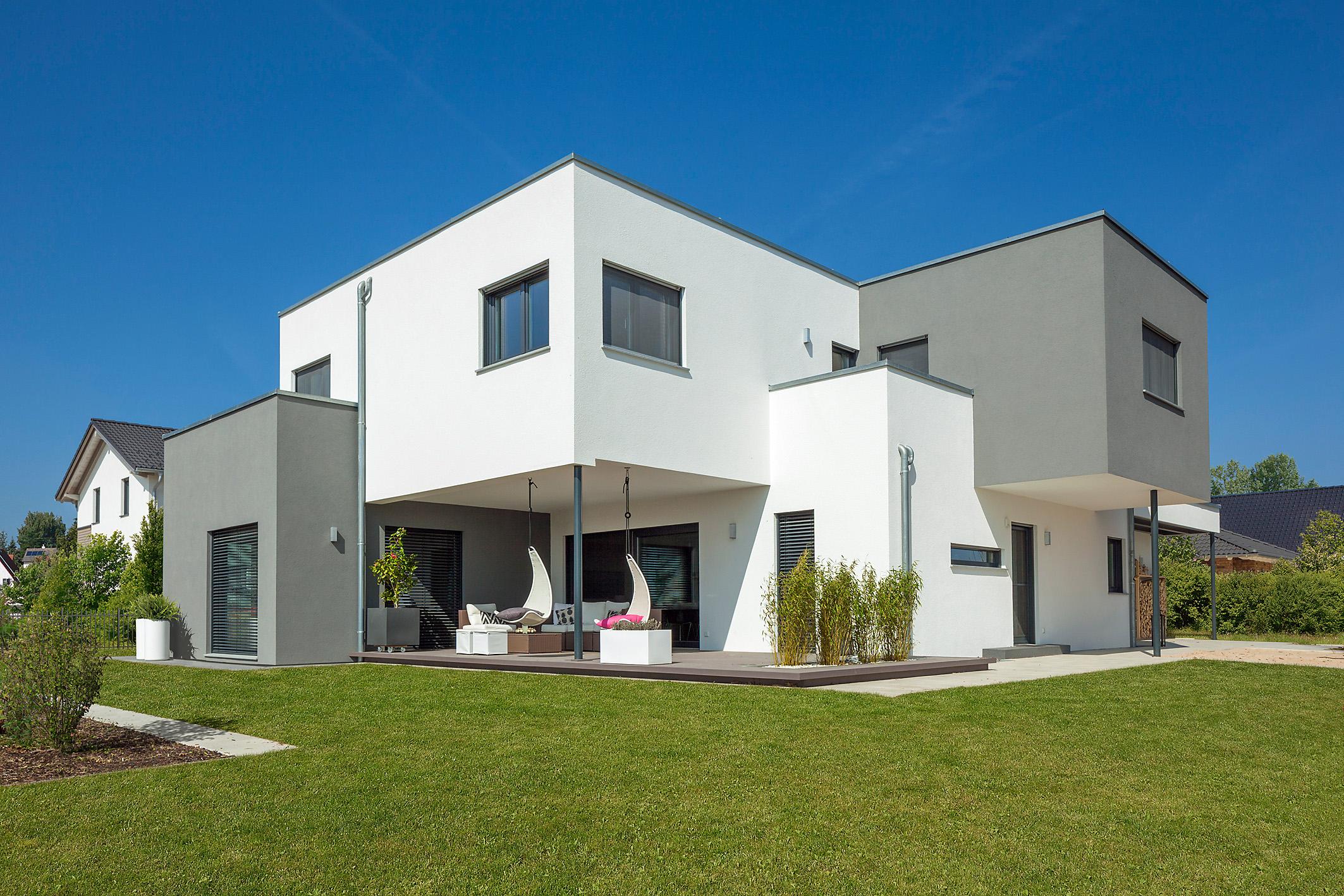 Große Wohnwürfel können auch aus einzelnen Baukörpern zusammengesetzt werden © BDF/Wolf-Haus
