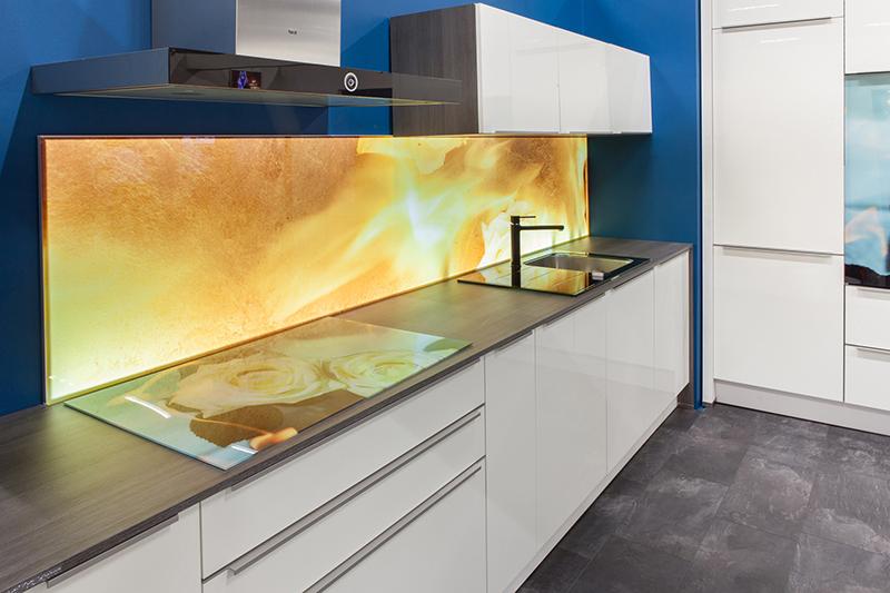 Wunderschöner Glaseinsatz in der Küche © BF/Saint-Gobain Glass Deutschland